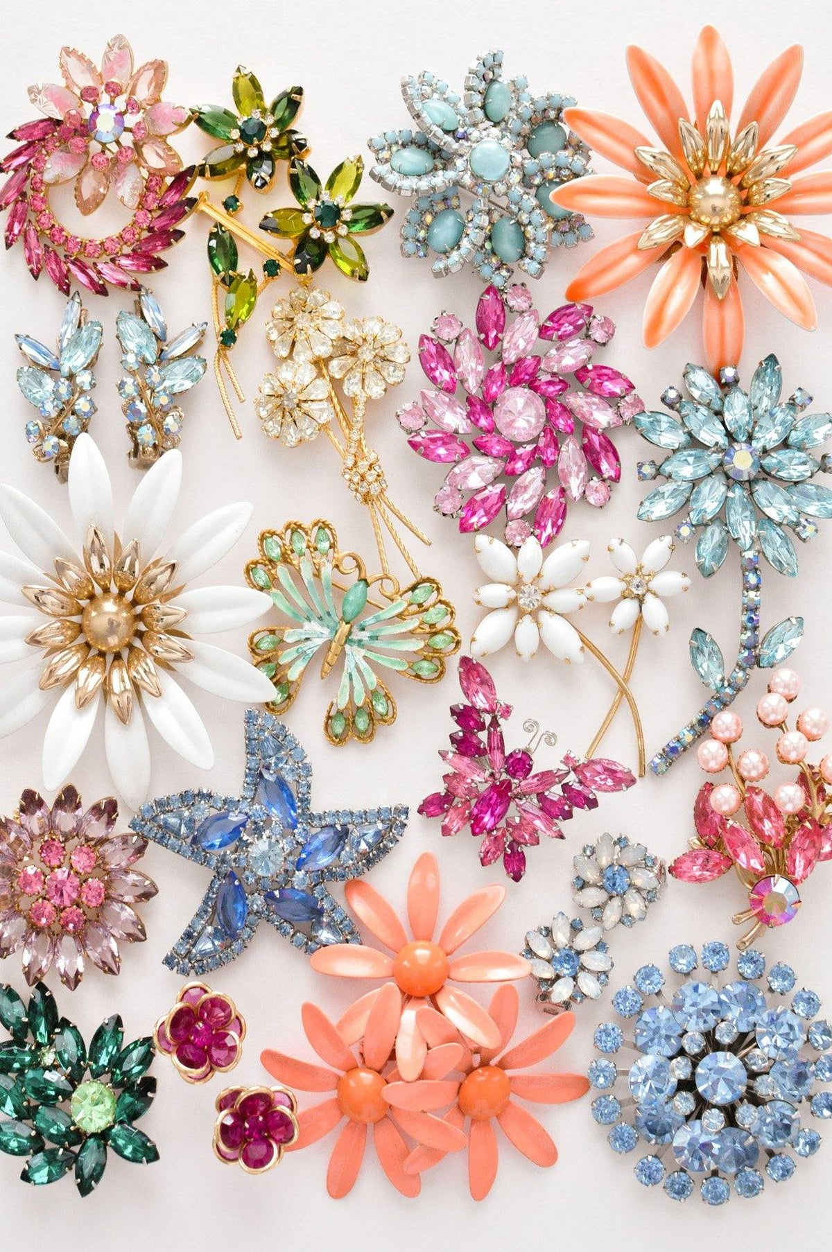 Colorful vintage brooches from Sweet & Spark.