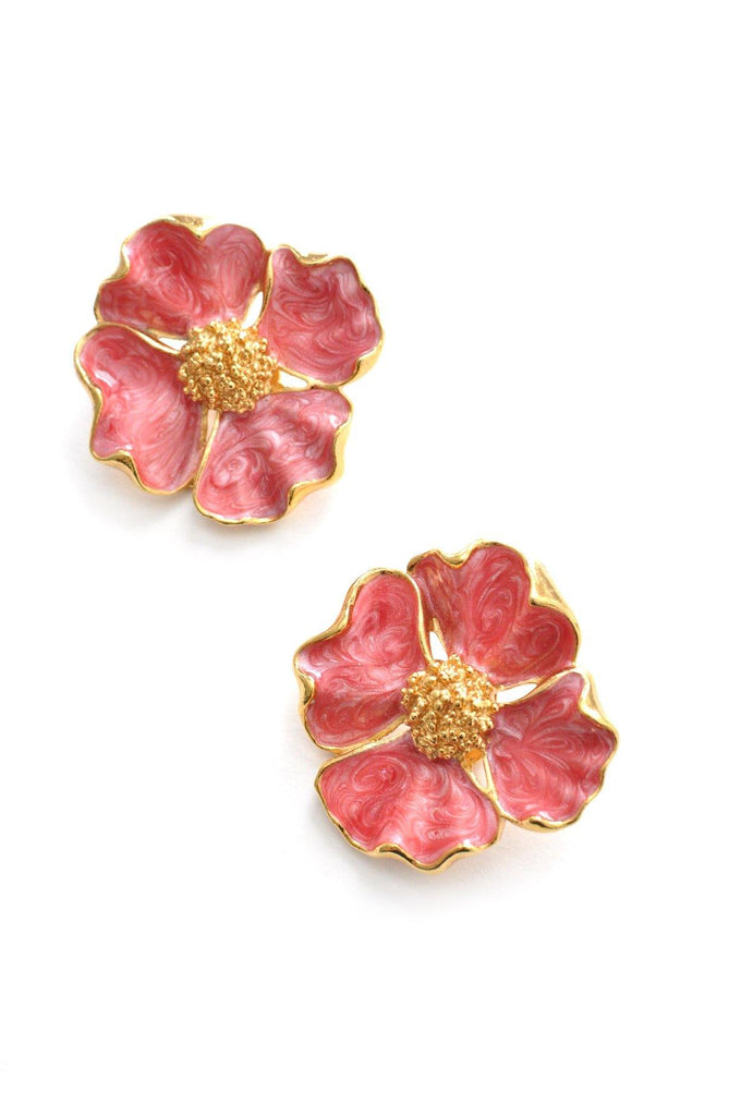 Enamel Statement Floral Clip-on Earrings