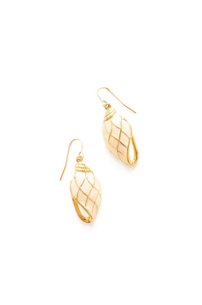 White and Gold Pierced Earrings