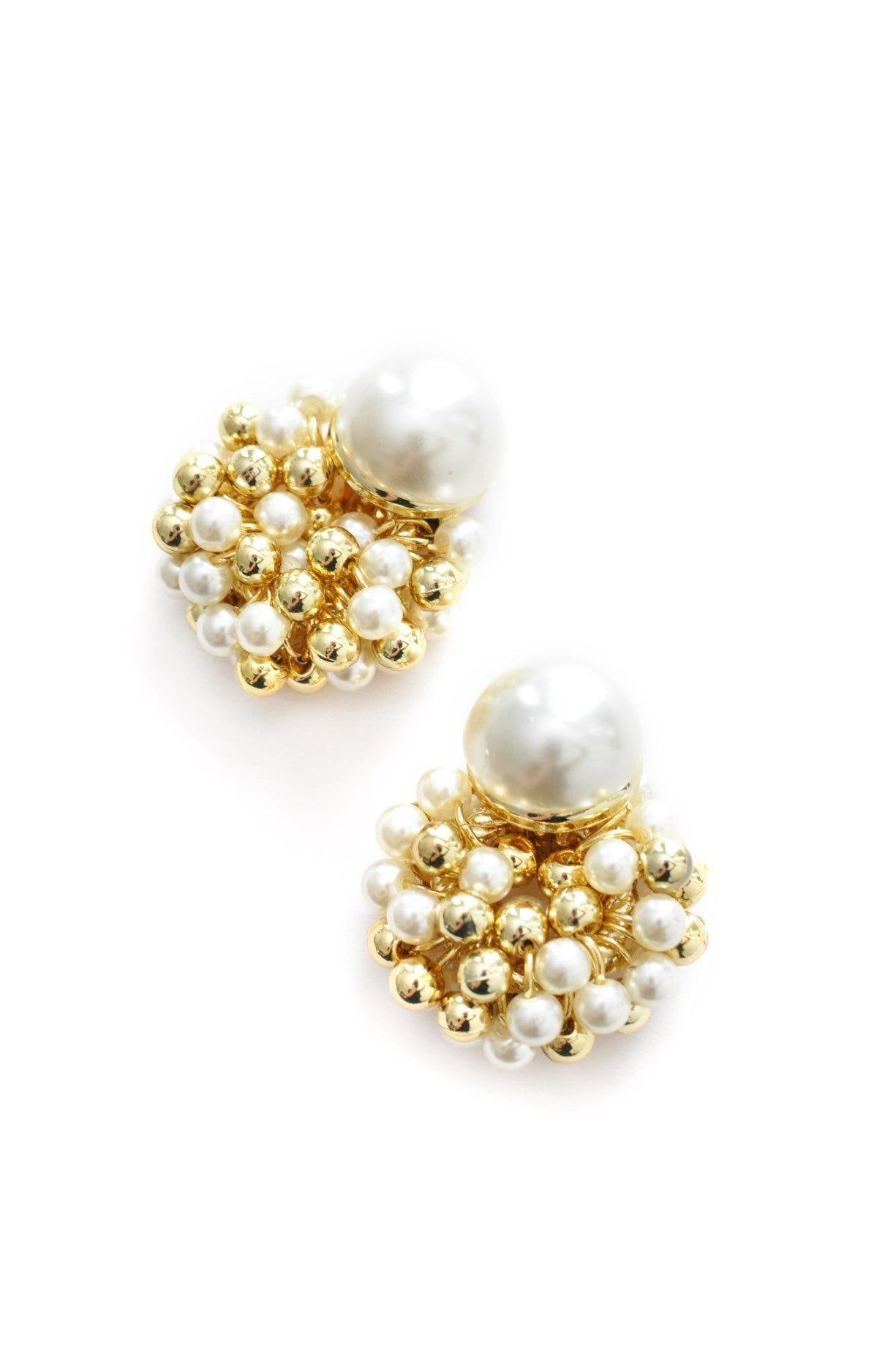 Beaded Pearl Clip-on Earrings