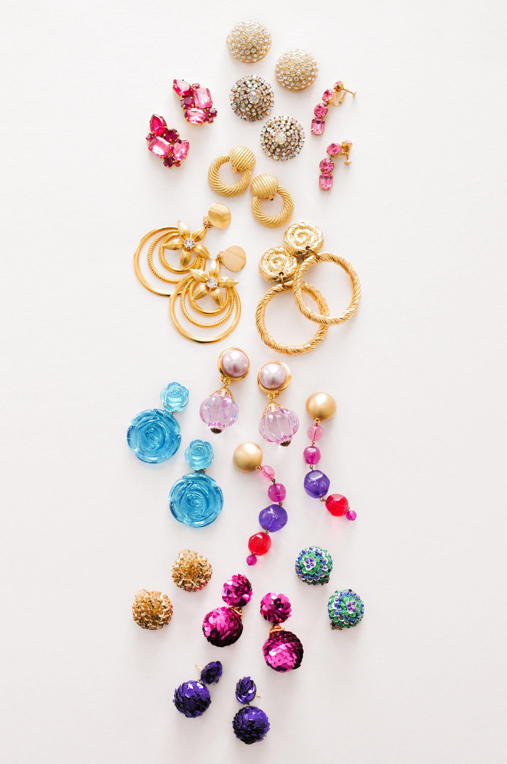 Gold Sequin Clip-On Earrings
