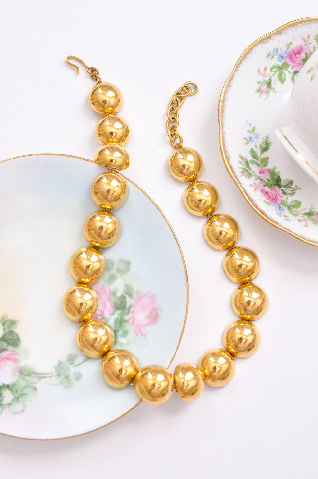 Large Beaded Gold Necklace