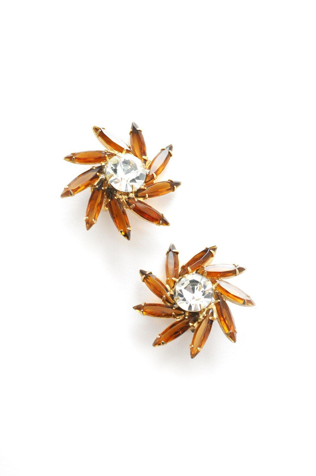 Amber Rhinestone Swirl Clip-on Earrings
