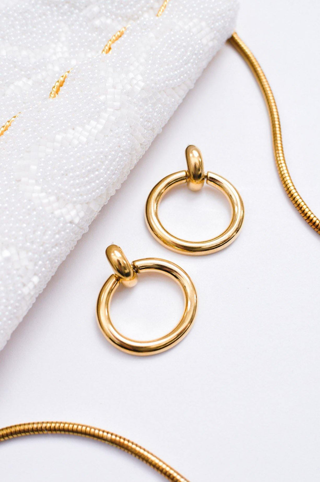 Circle Drop Pierced Earrings