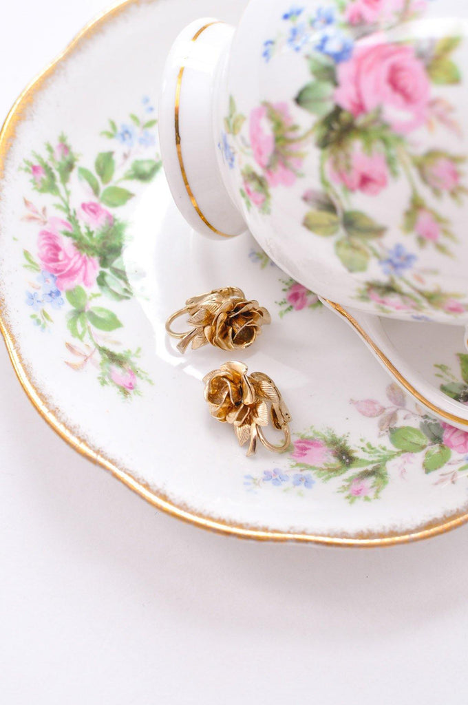 Dainty Floral Clip on Earrings