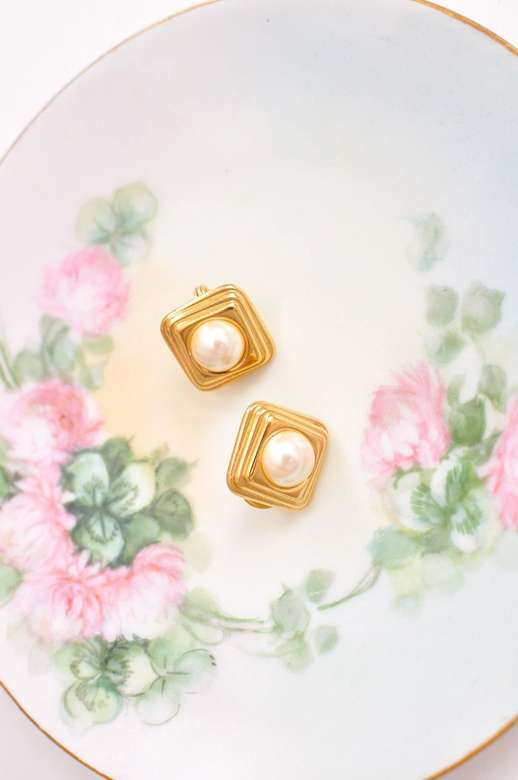 Pearl Square Clip on Earrings