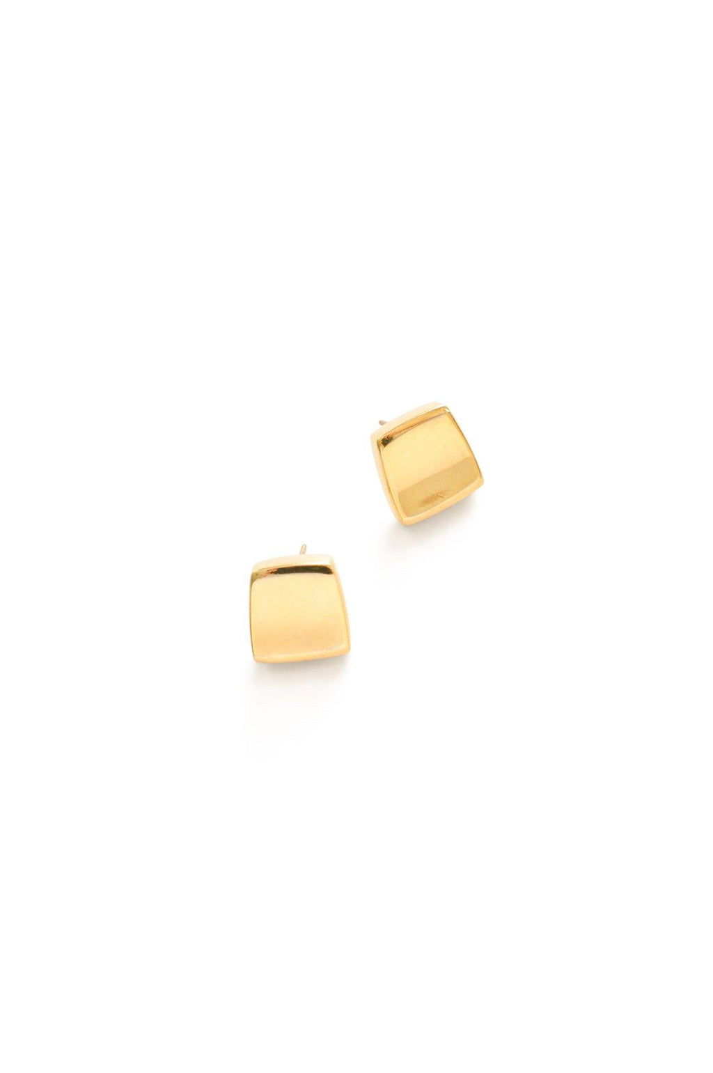 Gold Squares Pierced Earrings