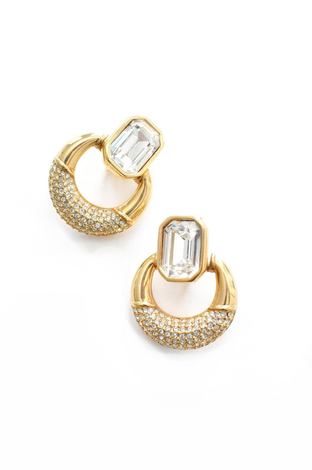 Rhinestone Door Knocker Clip-on Earrings