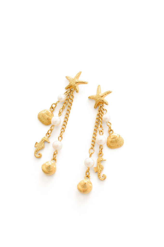 Starfish Drop Pierced Earrings