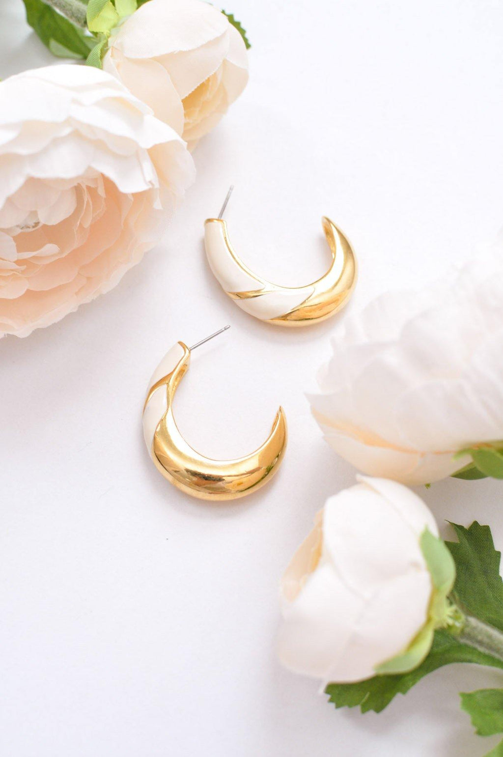 White Enamel Pierced Hoop Earrings