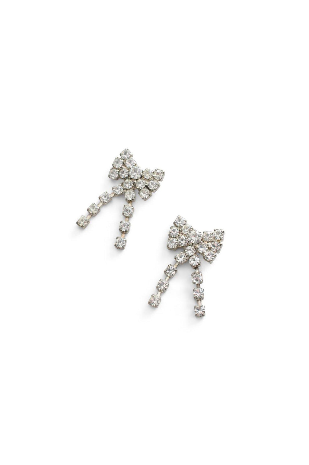 Rhinestone Bow Pierced Earrings