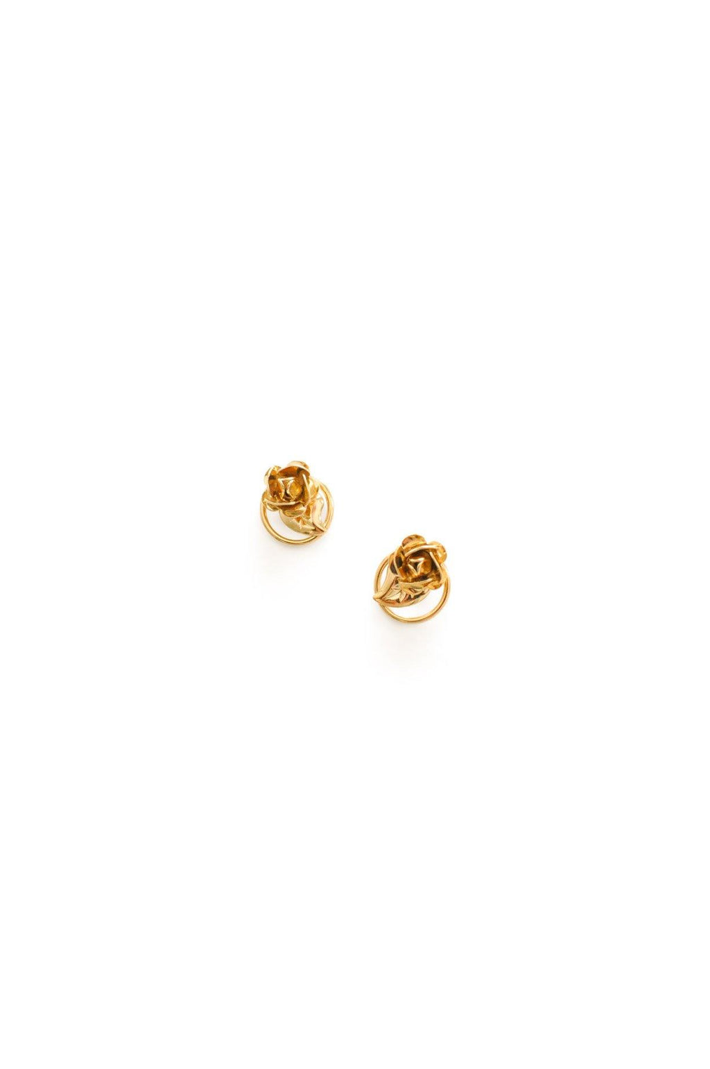 Gold Rose Pierced Stud Earrings