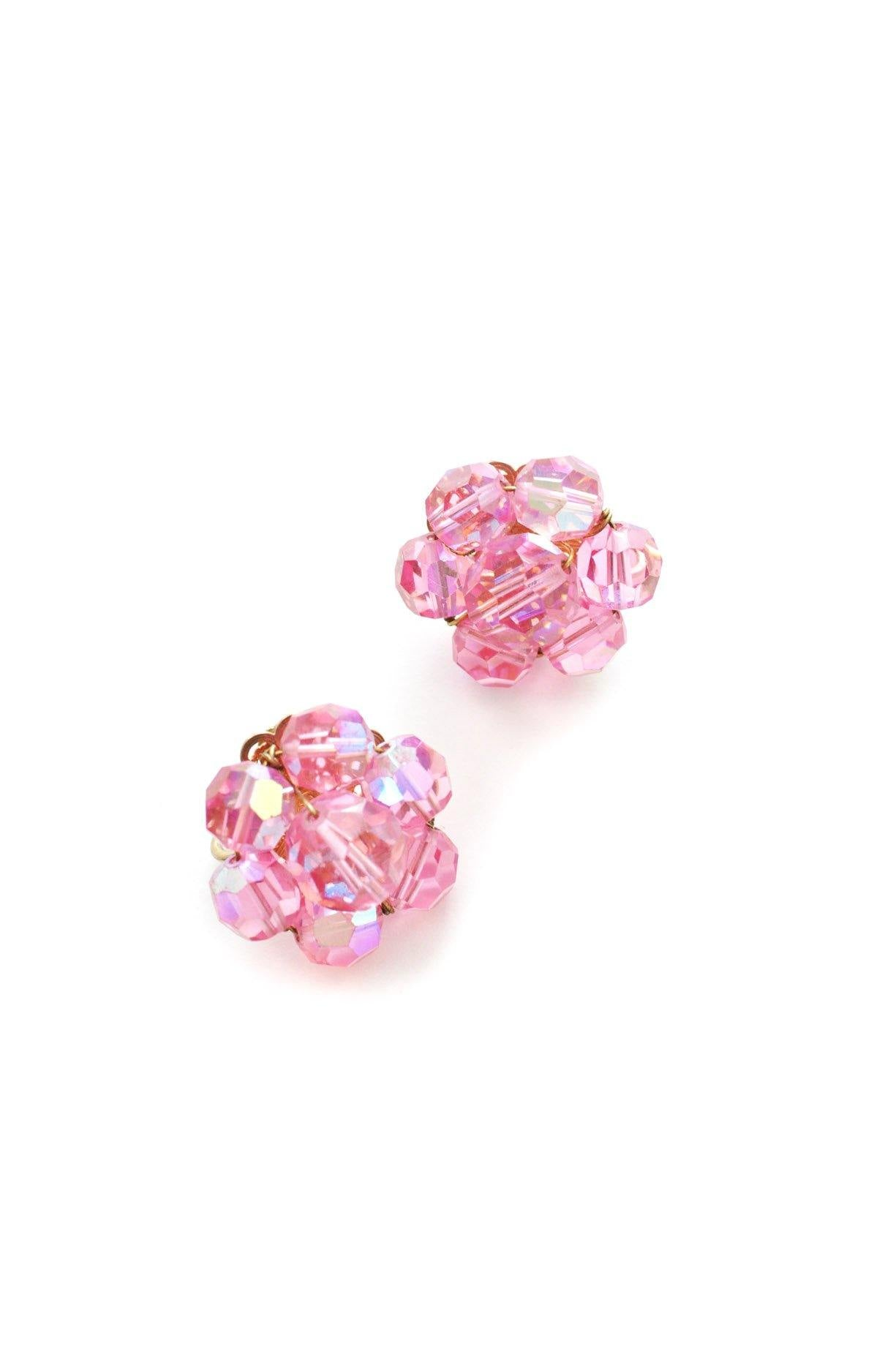 Pink Crystal Clip-on Earrings