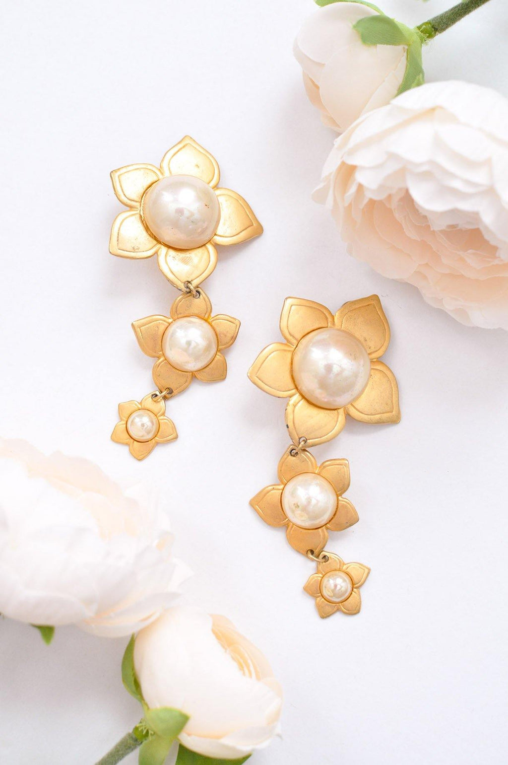 Tiered Floral Pearl Clip on Earrings