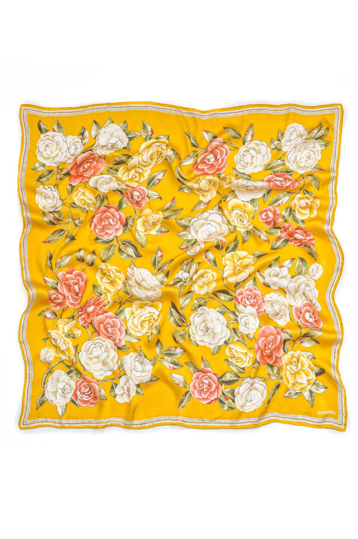 Vintage Chanel Orange Camellia Scarf from Sweet and Spark