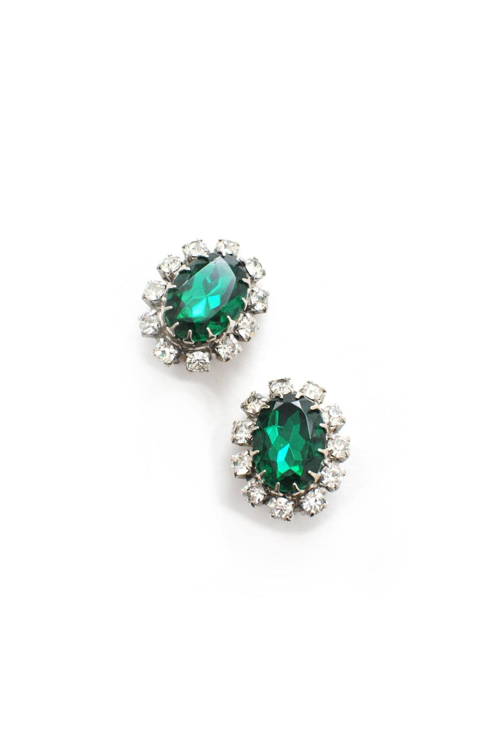 Emerald Statement Clip-on Earrings