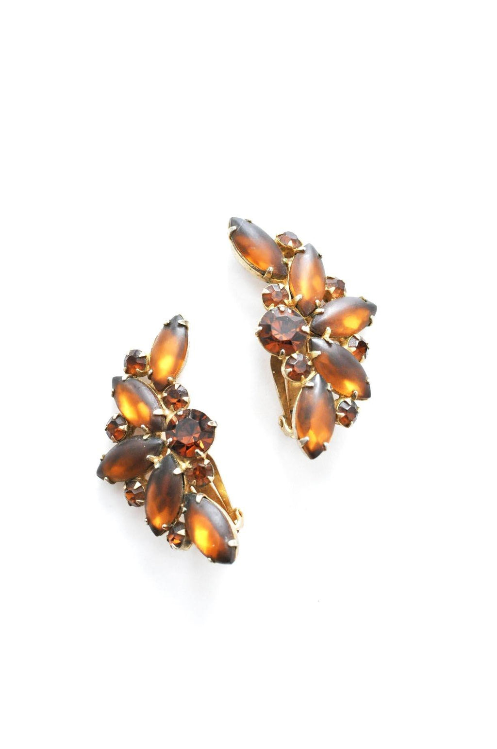 Brown Rhinestone Crawler Clip-on Earrings