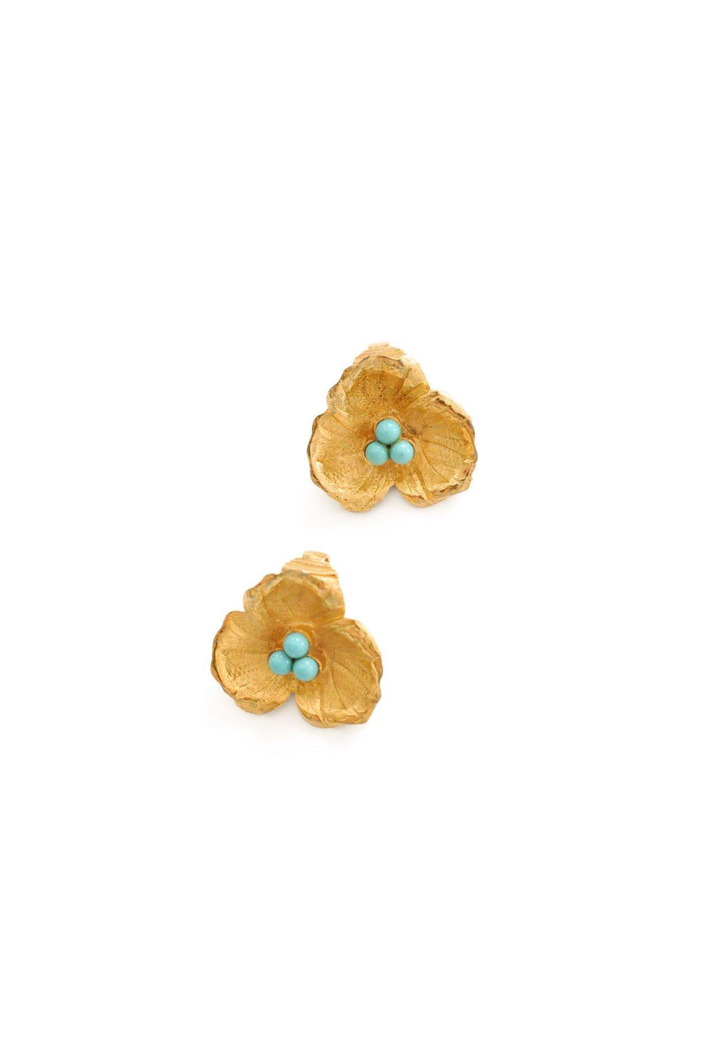 Floral Turquoise Clip-On Earrings