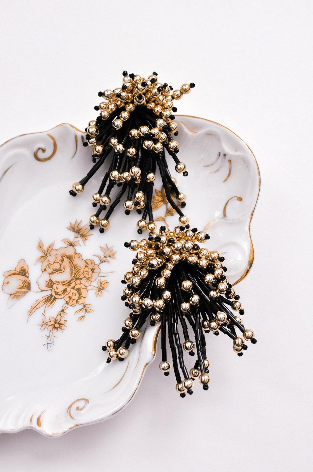 Gold & Black Confetti Clip-on Earrings