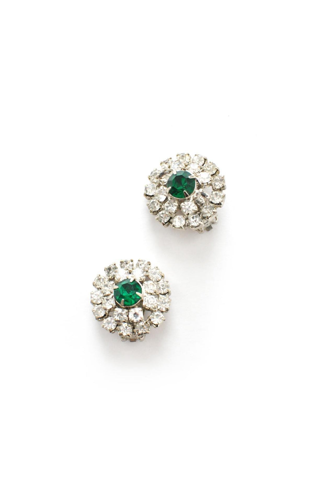 Emerald Rhinestone Clip-on Earrings