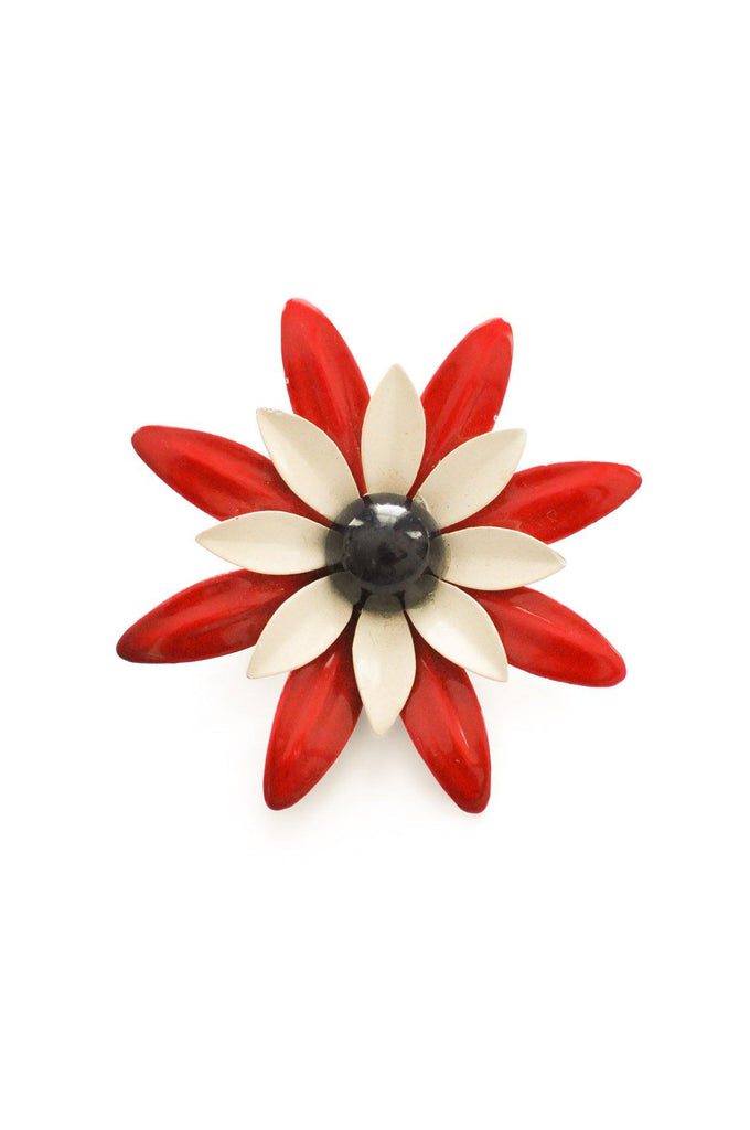 Red, White & Black Enamel Brooch