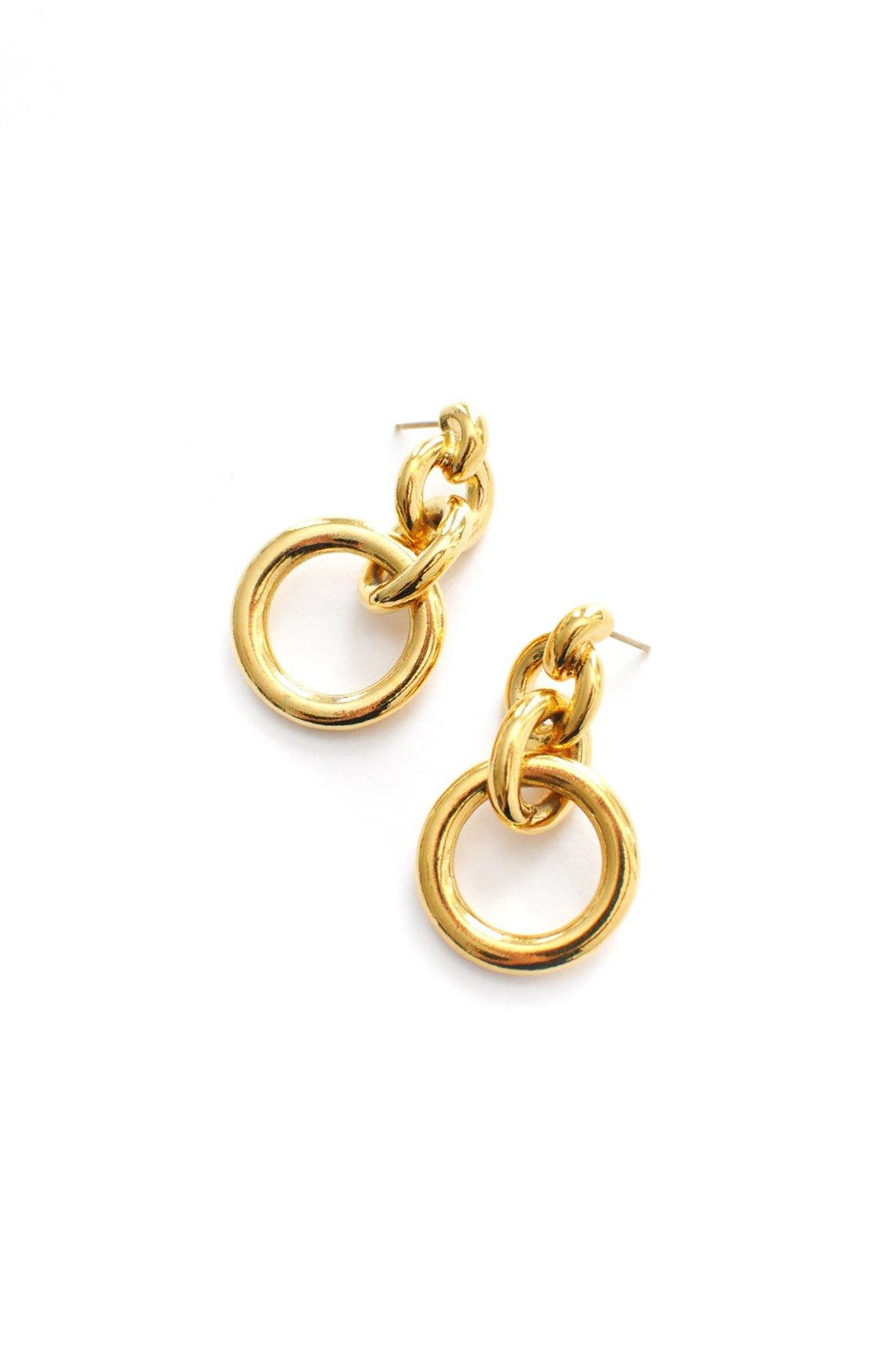 Bold Gold Circles Pierced Earrings