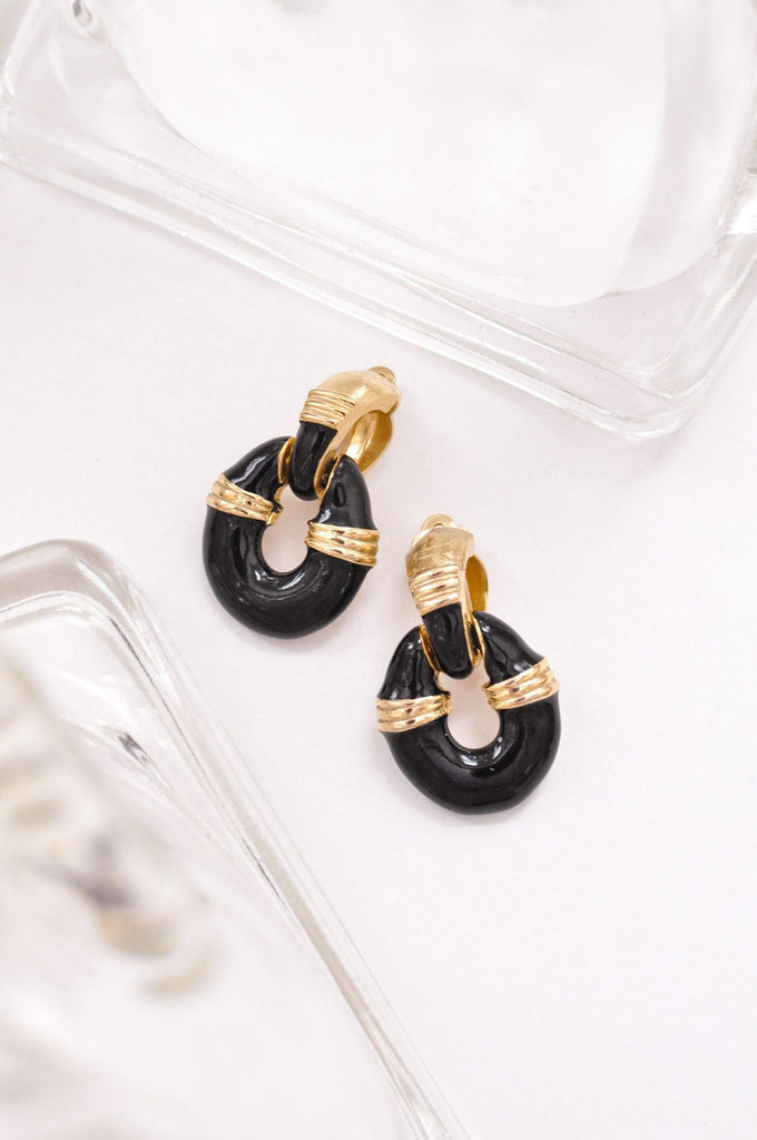 Black Enamel Clip on Earrings