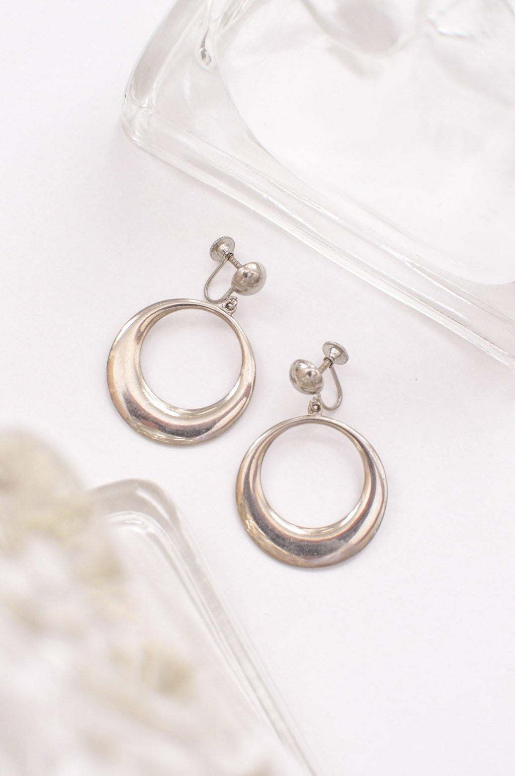 Large Silver Clip on Hoop Earrings