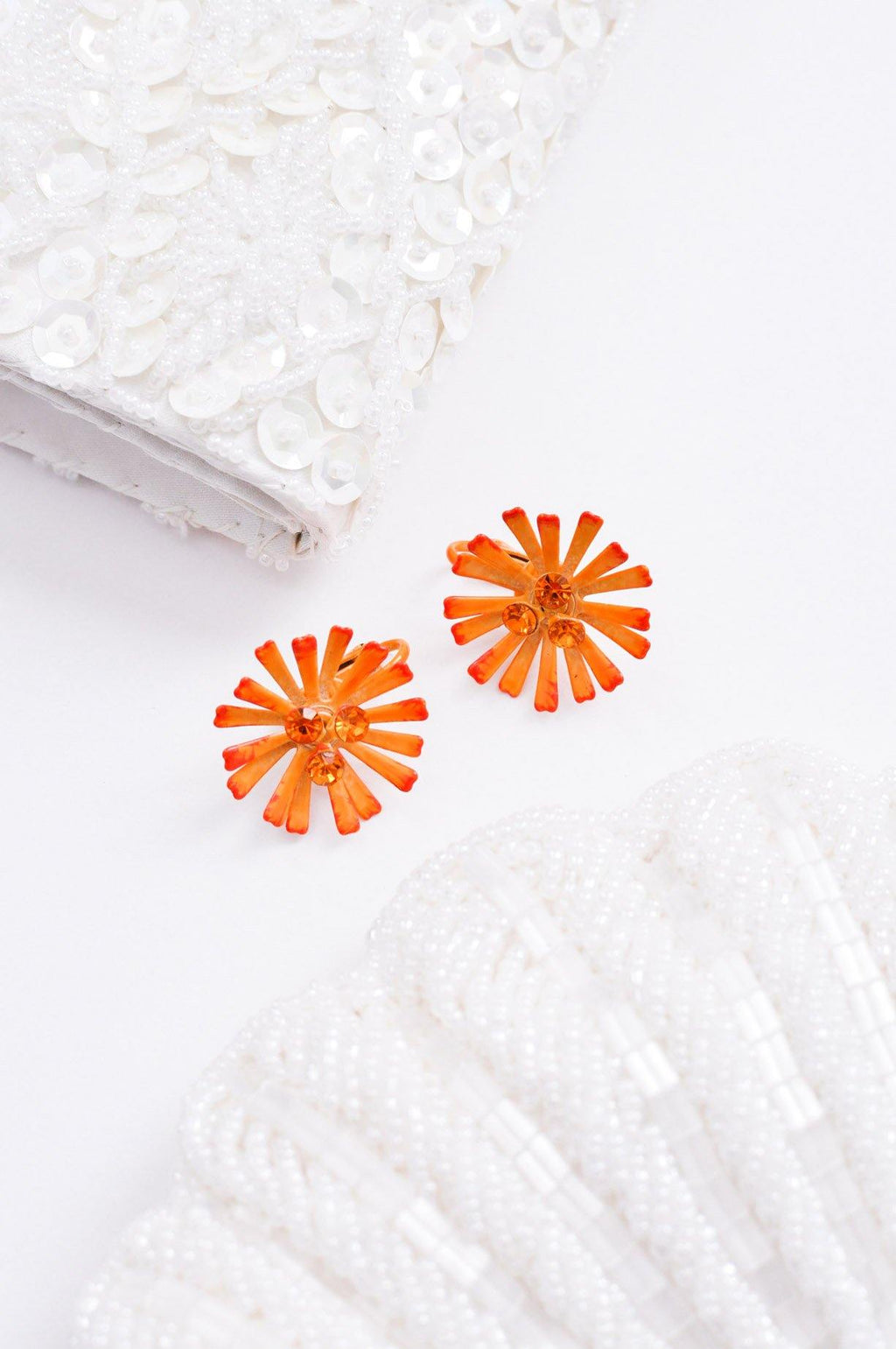 Orange Burst Clip-on Earrings