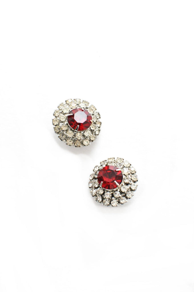 Red Rhinestone Clip-on Earrings