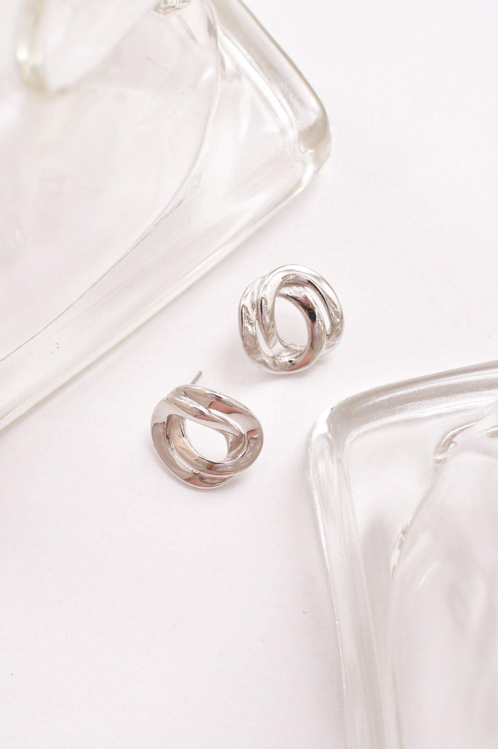 Silver Large Link Pierced Earrings