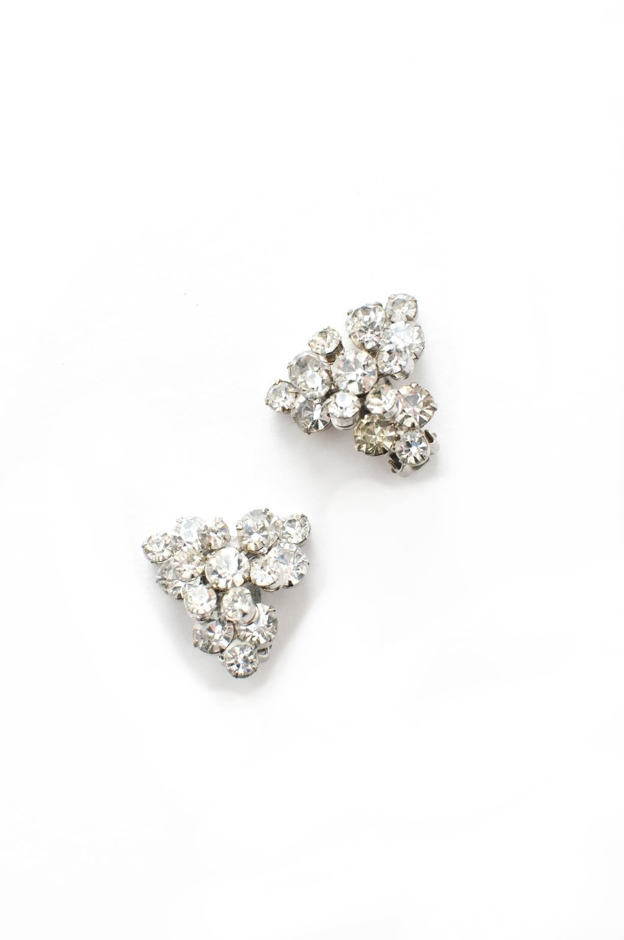 Rhinestone Burst Clip-on Earrings