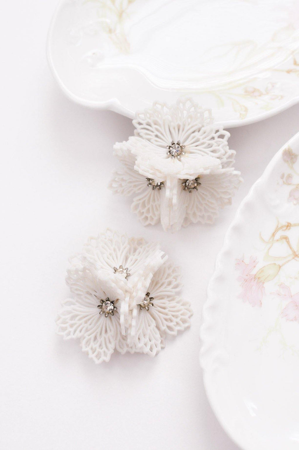 Lace Daisy Cluster Clip-On Earrings