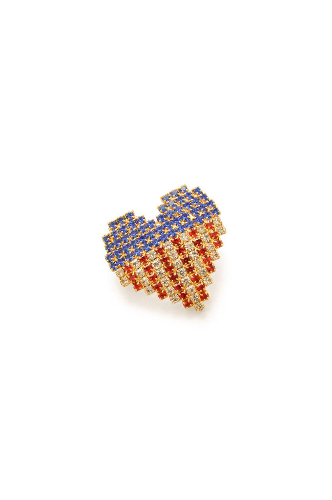 Rhinestone Heart Flag Brooch