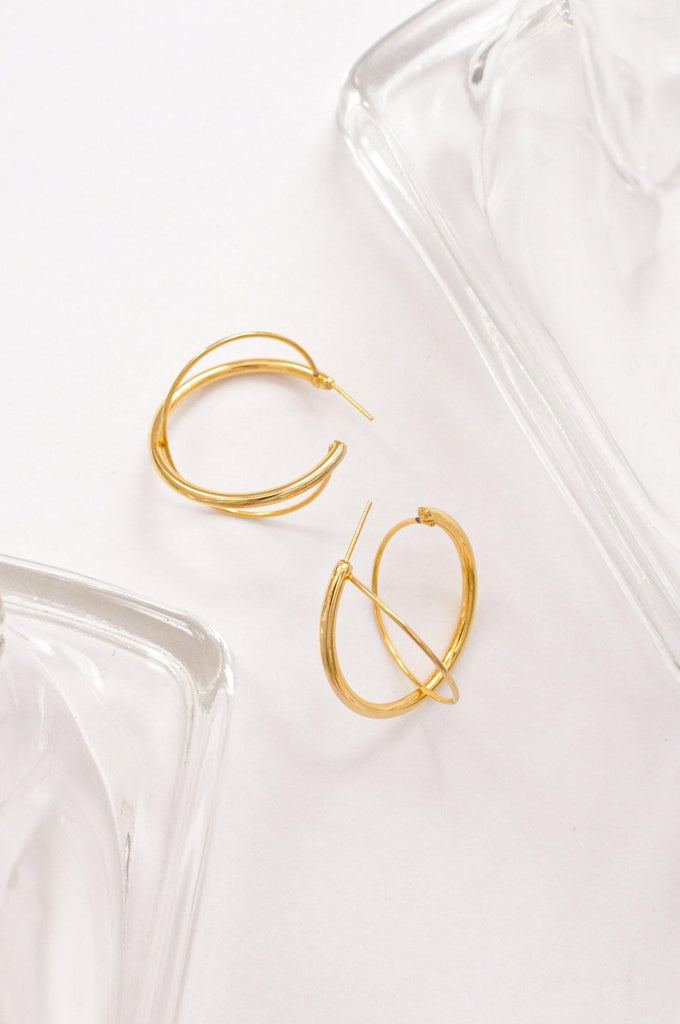 Cross Pierced Hoop Earrings