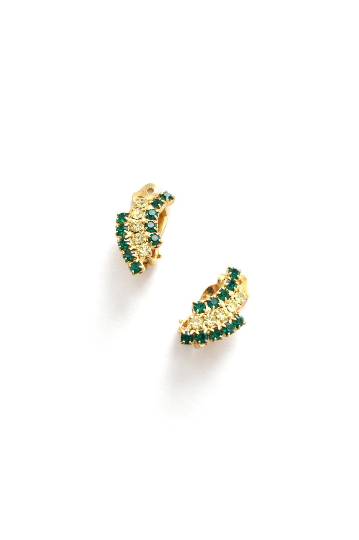 Rhinestone Rainbow Clip-on Earrings