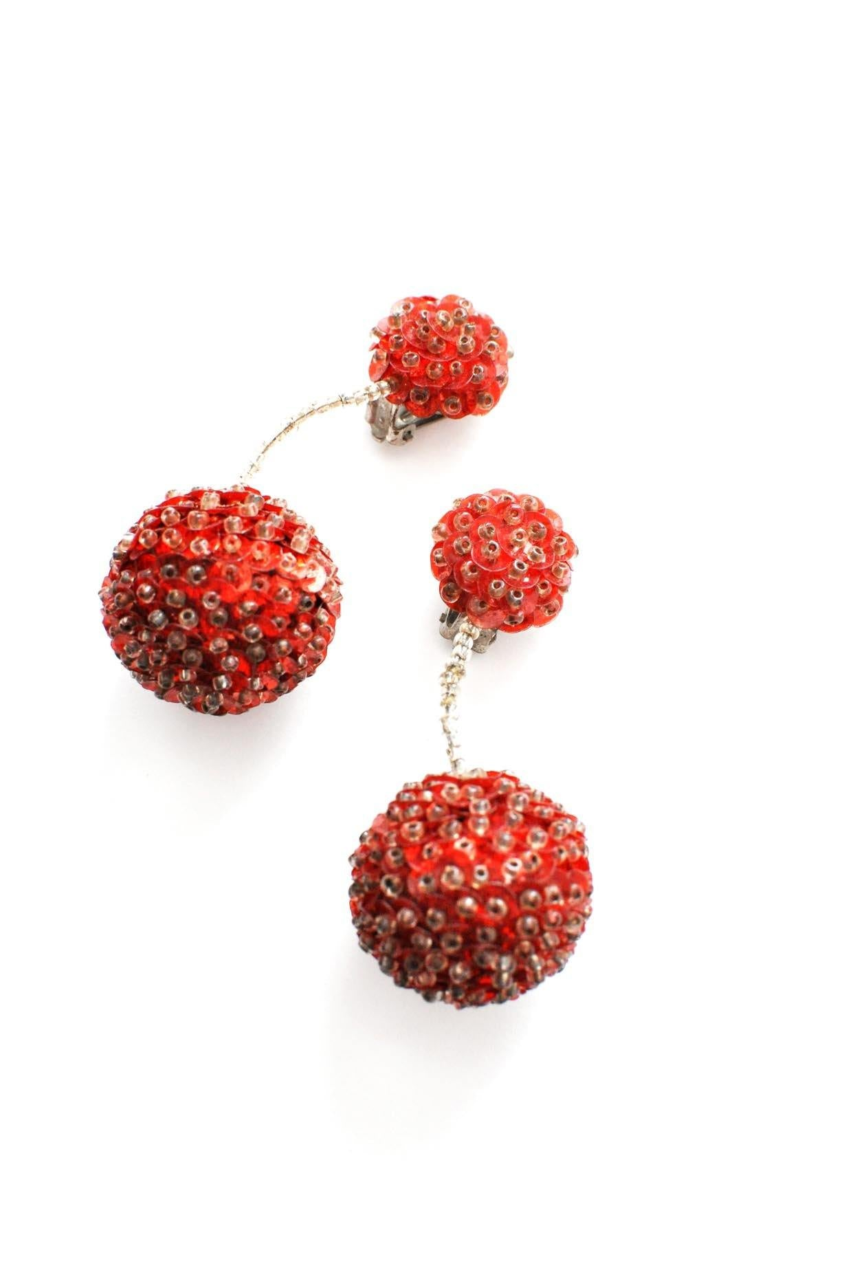 Red Bon Bon Clip-on Earrings