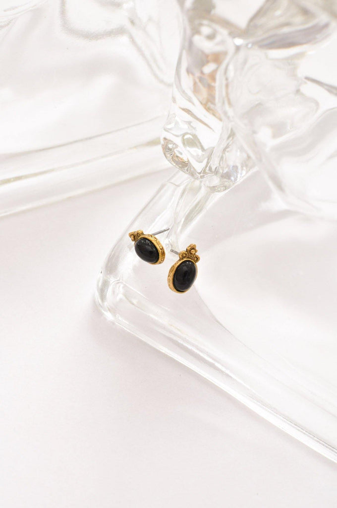 Black Glass Studs