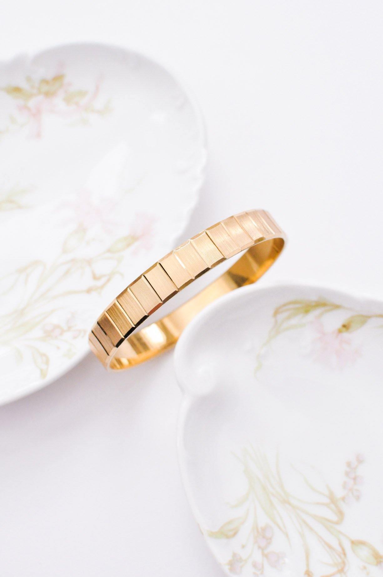 Rectangle Etched Bangle Bracelet