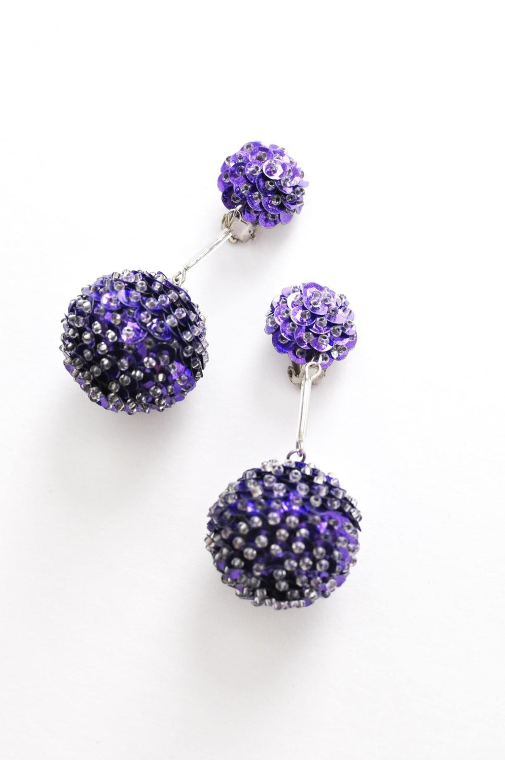 Purple Sequin Bon Bon Clip-on Earrings