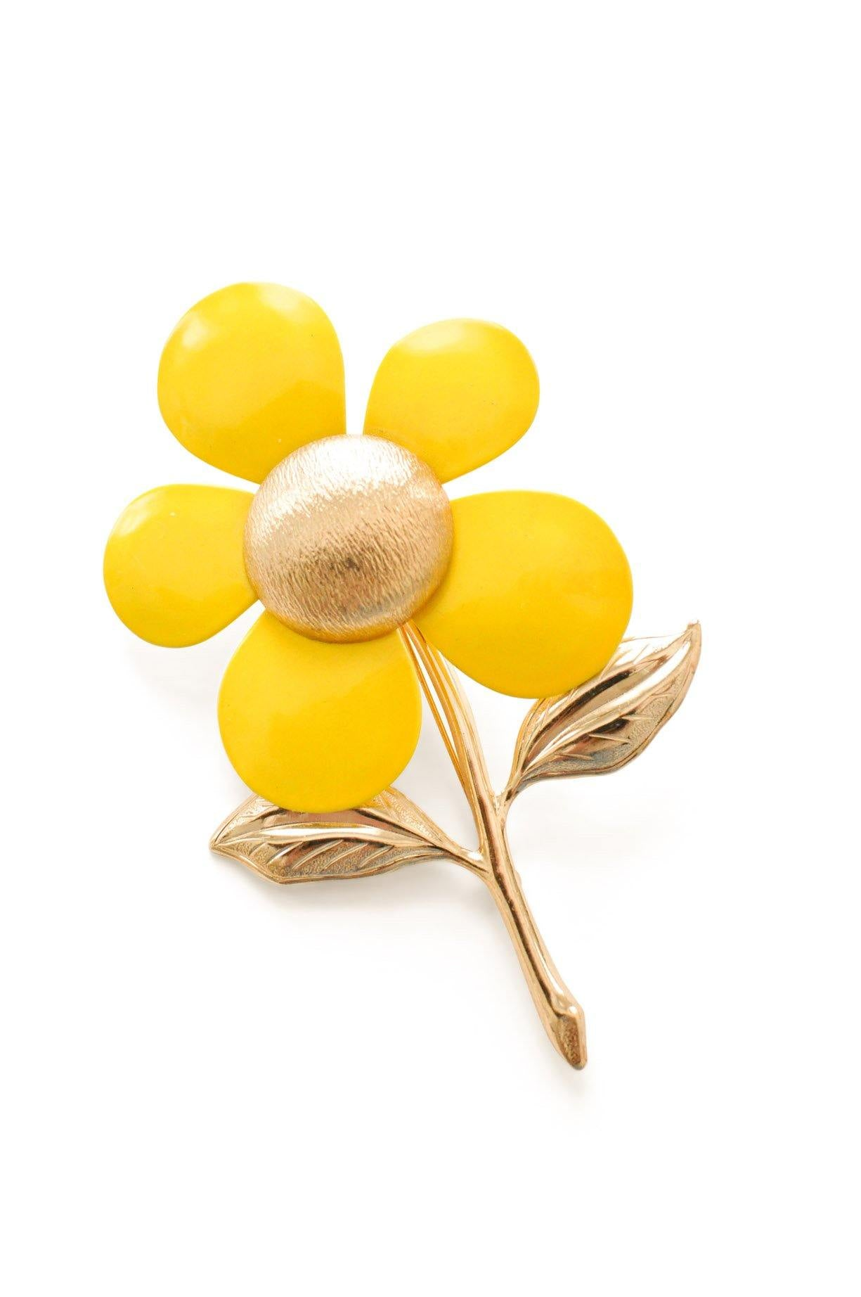 Yellow Floral Stem Brooch