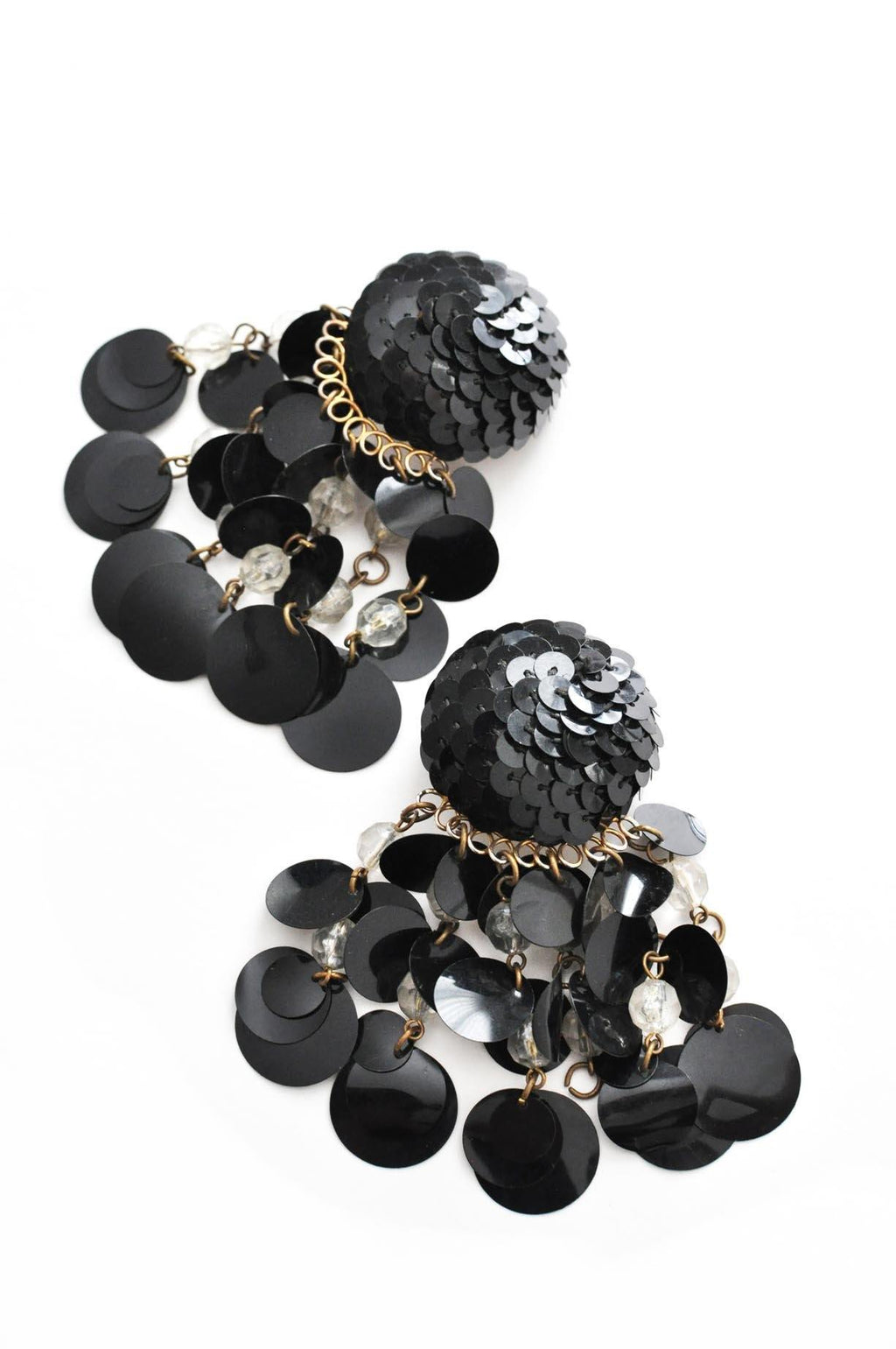 Black Sequin Statement Clip-on Earrings