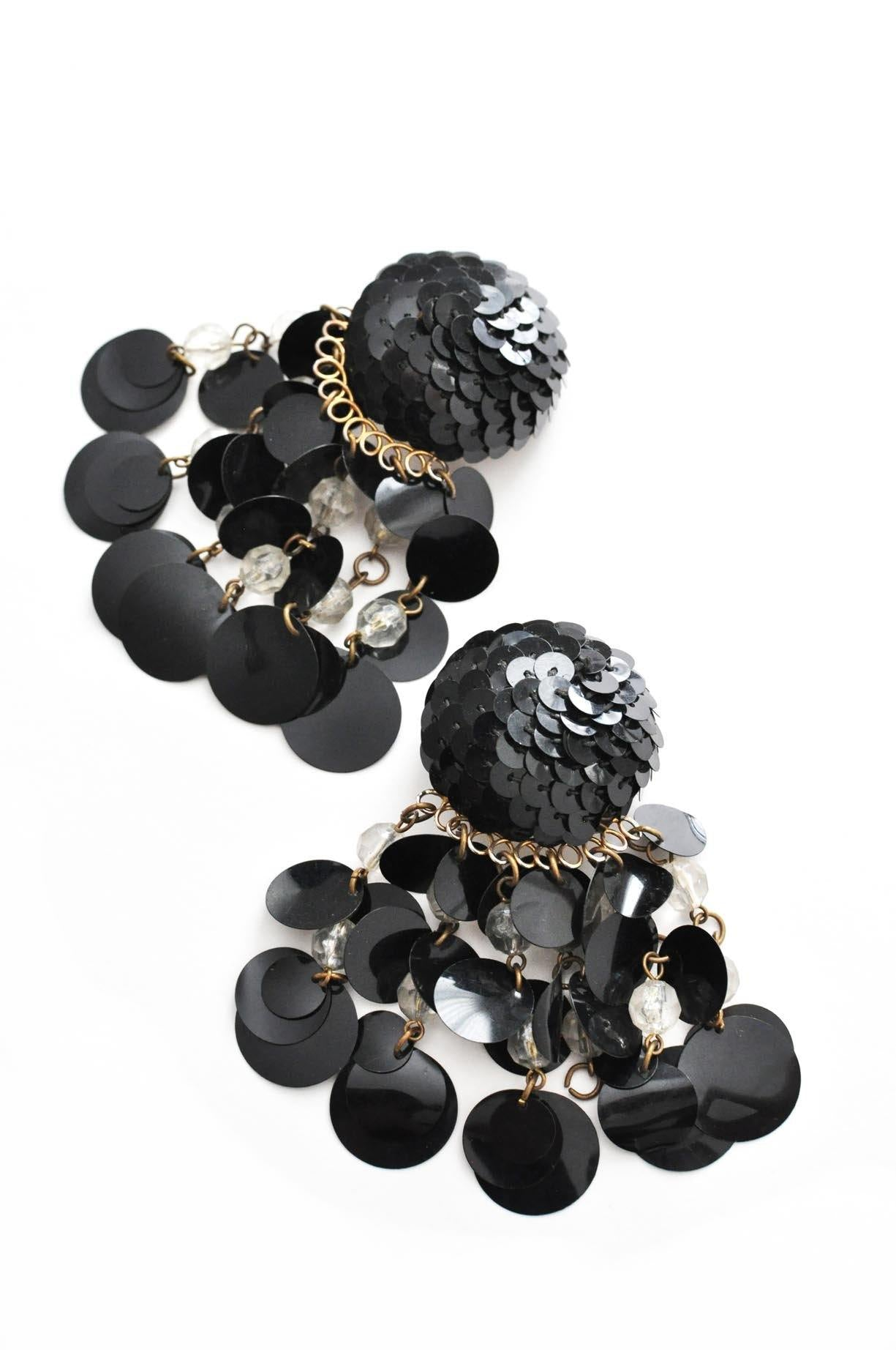 Vintage black sequin statement earrings from Sweet & Spark.
