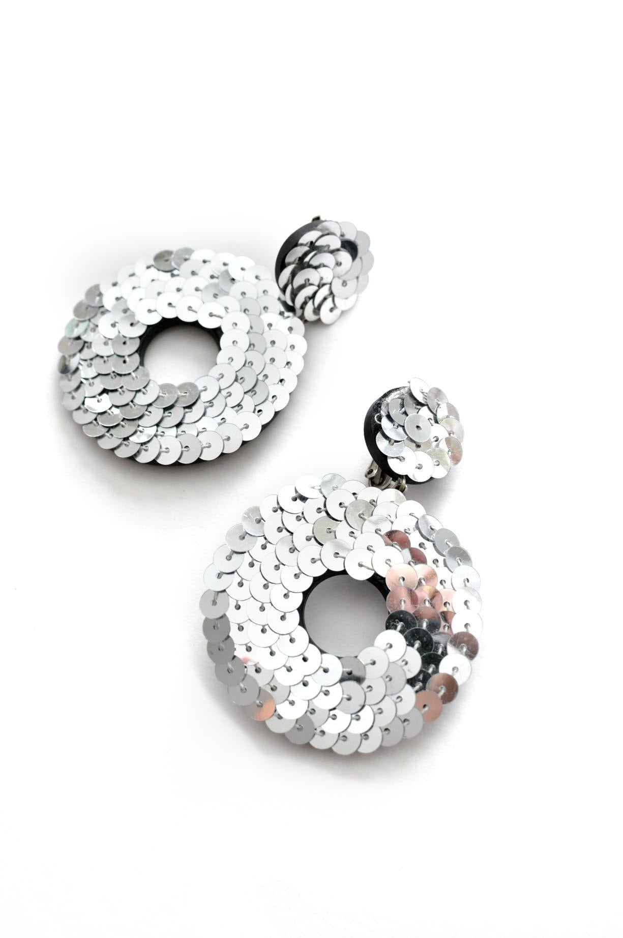 Silver Sequin Hoop Clip-on Earrings