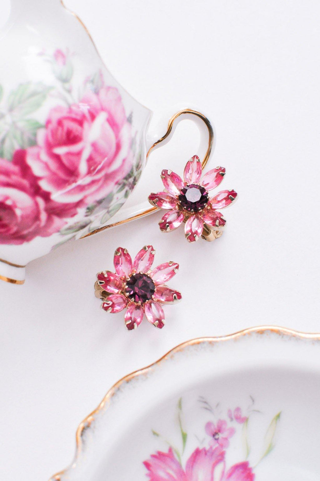 Pink & Purple Floral Clip-on Earrings