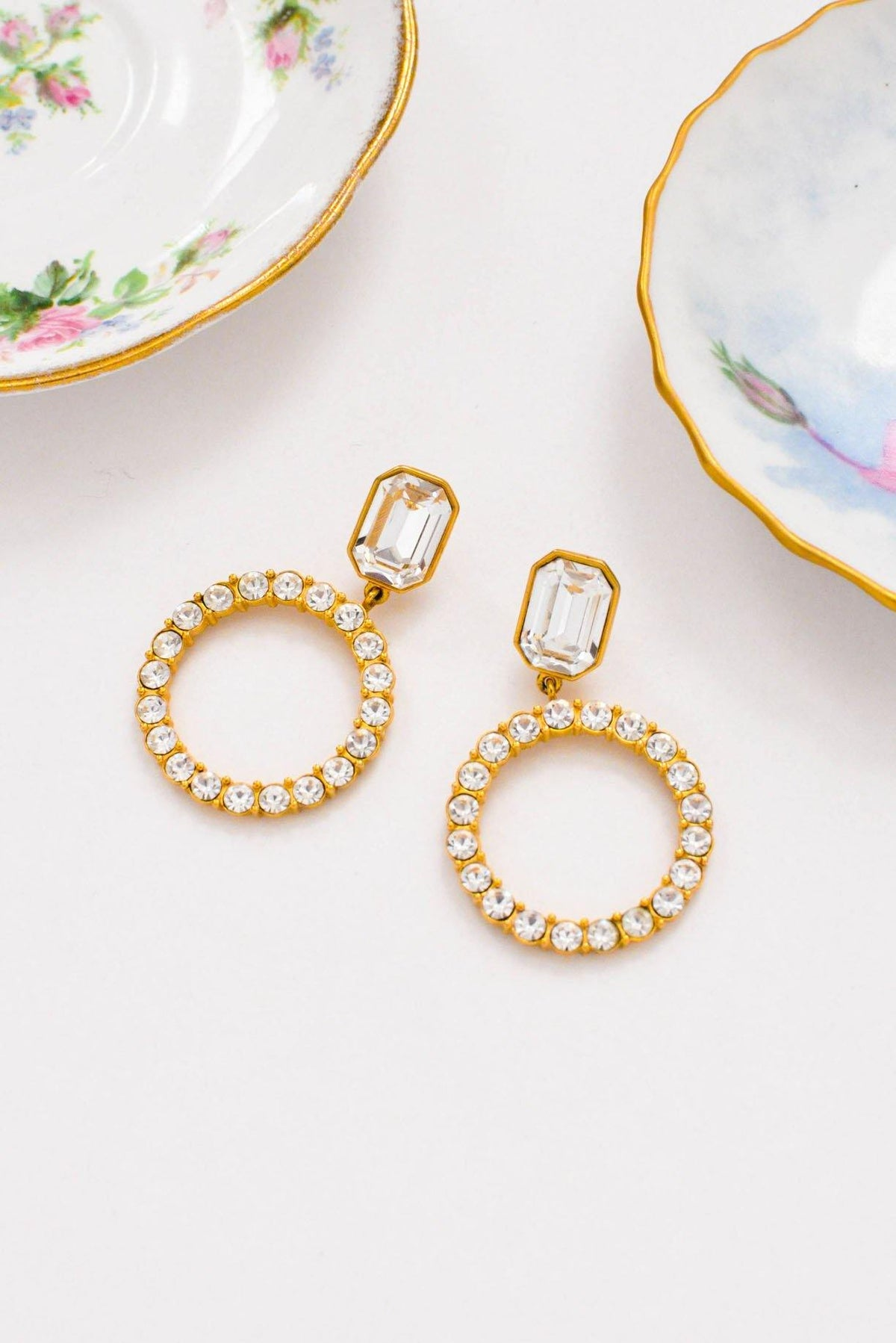 Vintage Statement Rhinestone Drop Hoop Pierced Earrings from Sweet and Spark