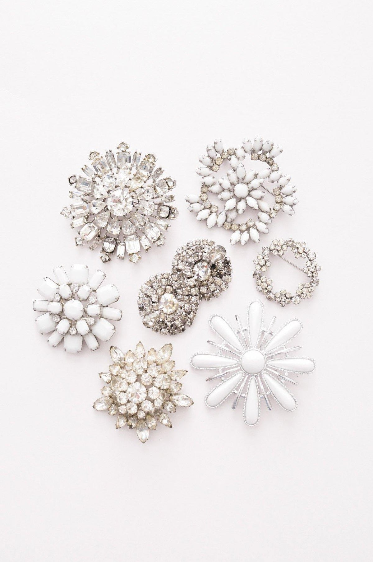 Vintage statement rhinestone brooches from Sweet & Spark.