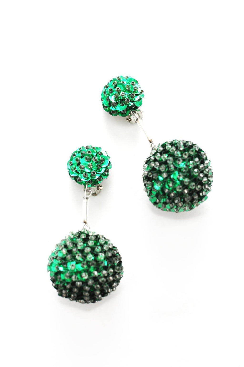 Green Sequin Bon Bon Clip-on Earrings