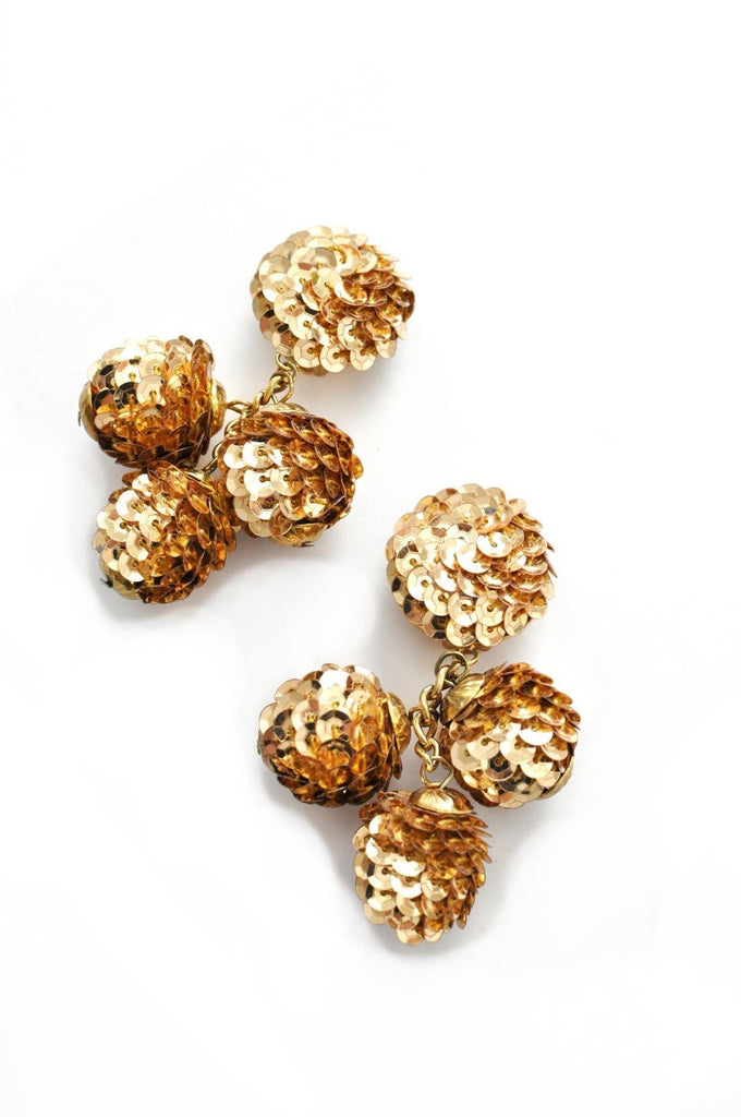 Gold Sequin Bon Bon Drop Clip-on Earrings