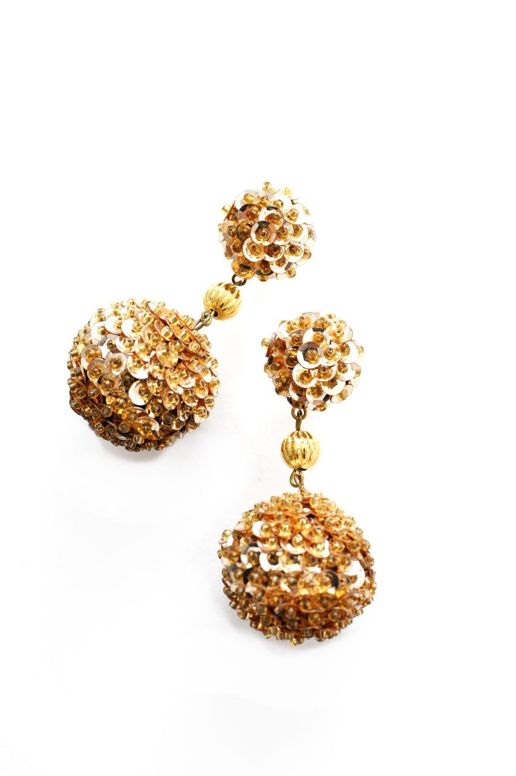 Gold Sequin Bon Bon Pierced Earrings